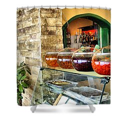 Greek Isle Restaurant Still Life Shower Curtain by Mitchell R Grosky
