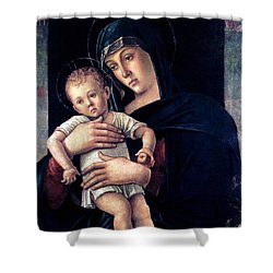 Greek Madonna With Child 1464 Giovanni Bellini Shower Curtain by Karon Melillo DeVega