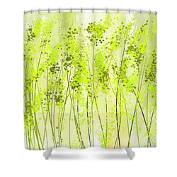 Green Abstract Art Shower Curtain by Lourry Legarde