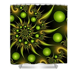 Shower Curtain featuring the digital art Green And Gold by Gabiw Art