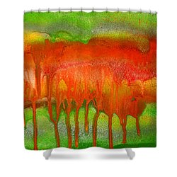 Green And Orange Abstract Shower Curtain