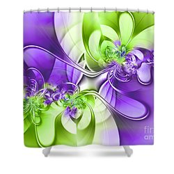 Green And Purple Shower Curtain by Lena Auxier