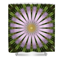 Green And Purple Starburst Shower Curtain