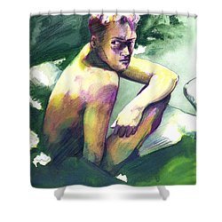 Green And White Light Shower Curtain