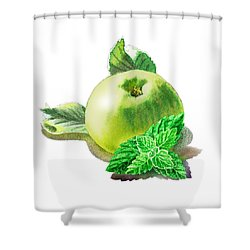 Shower Curtain featuring the painting Green Apple And Mint Happy Union by Irina Sztukowski