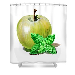 Shower Curtain featuring the painting Green Apple And Mint by Irina Sztukowski