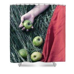 Green Apples Shower Curtain by Joana Kruse