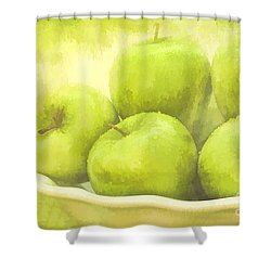 Green Apples Shower Curtain by Linda Blair