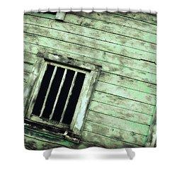 Green Barn Up Close Shower Curtain by Julie Hamilton