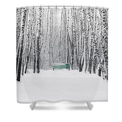 Green Bench Shower Curtain