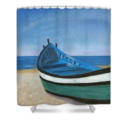Green Boat Blue Skies Shower Curtain