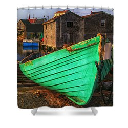 Green Boat Peggys Cove Shower Curtain by Garry Gay