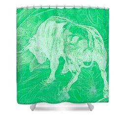 Green Bull Negative Shower Curtain