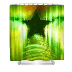 Green Christmas Star Shower Curtain by Gaspar Avila