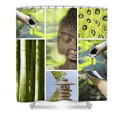 Green Collage Shower Curtain by Delphimages Photo Creations