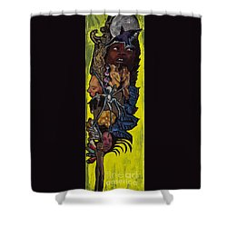 Green Crow Feather Shower Curtain