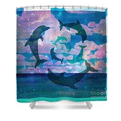 Green Dolphin Dance Shower Curtain