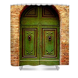 Green Door Shower Curtain by Ramona Johnston