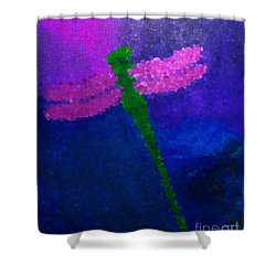 Shower Curtain featuring the painting Green Dragonfly by Anita Lewis