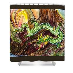 Green Earth Dragon Shower Curtain