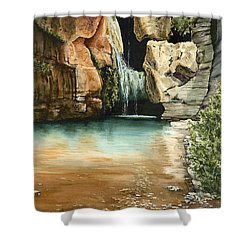 Green Falls II Shower Curtain