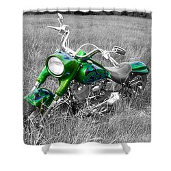 Green Fat Boy Shower Curtain by Guy Whiteley