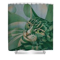 Shower Curtain featuring the painting Green Feline Geometry by Pamela Clements