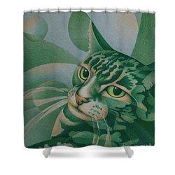 Green Feline Geometry Shower Curtain