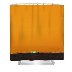Green Flash Bird Pile Shower Curtain by Sean Davey