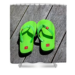 Green Flip Flops Shower Curtain by Art Block Collections