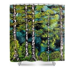 Green Forest Shower Curtain by Valerie Ornstein