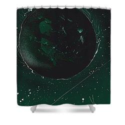 Green Galaxies Shower Curtain