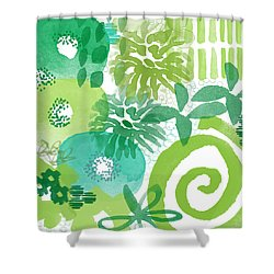 Green Garden- Abstract Watercolor Painting Shower Curtain by Linda Woods