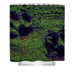 Green Glow Paw Prints Shower Curtain