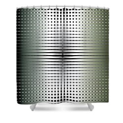Shower Curtain featuring the digital art Green/gold Grid by Kevin McLaughlin