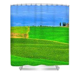 Green Green Grass Of Home Shower Curtain by Midori Chan