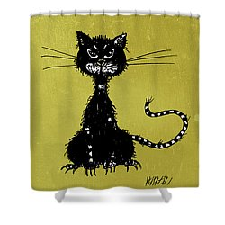 Green Grunge Evil Black Cat Shower Curtain