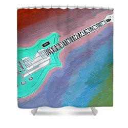 Green Guitar Shower Curtain by Magdalena Frohnsdorff