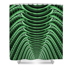 Shower Curtain featuring the digital art Green Hall by Anastasiya Malakhova
