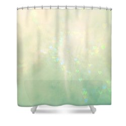 Green Hearts Shower Curtain