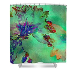 Green Hibiscus Mural Wall Shower Curtain