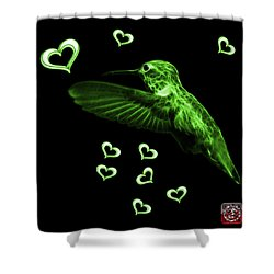 Shower Curtain featuring the digital art Green Hummingbird - 2055 F by James Ahn