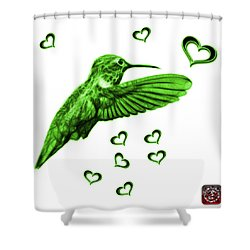 Shower Curtain featuring the digital art Green Hummingbird - 2055 F S M by James Ahn