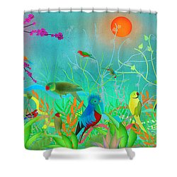 Green Landscape With Parrots - Limited Edition Of 15 Shower Curtain