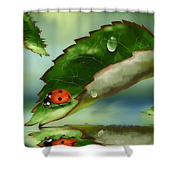 Green Leaf Shower Curtain by Veronica Minozzi