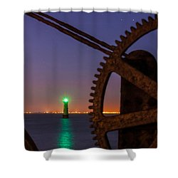 Green Lighthouse Shower Curtain by Semmick Photo