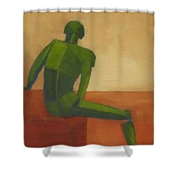 Green Male Figure Shower Curtain by Patricia Cleasby