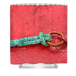 Green Marine Rope On Red Ship Shower Curtain by Matthias Hauser
