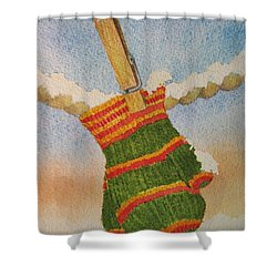 Shower Curtain featuring the painting Green Mittens by Mary Ellen Mueller Legault