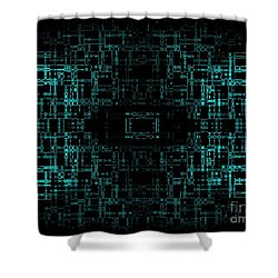 Shower Curtain featuring the digital art Green Network by Anita Lewis